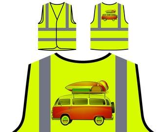 Camper Van Surf Board Orange Safety Vest mm96v