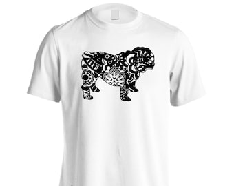 English Bulldog Colorful Boho Style Men's T-Shirt s837m