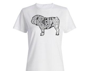 English Bulldog Mandala 1 Ladies T-shirt s839f