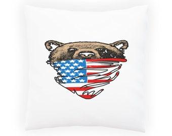 My American Bear USA flag Scarf Pillow Cushion Cover aa187p