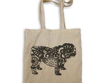 English Bulldog Colorful Boho Style Tote bag s837r