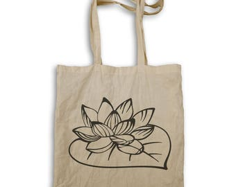 Lotus Flower Black Tote bag t654r