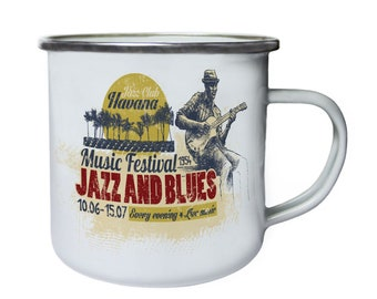 Jazz Club Havana Jazz and Blues 1954 Retro,Tin, Enamel 10oz Mug x849e