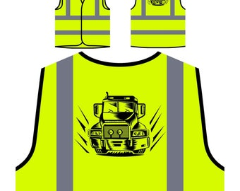 Retro Truck Lorry Driver Vintage gift Personalized Hi Visibility Yellow Safety Jacket Vest Waistcoat f760v