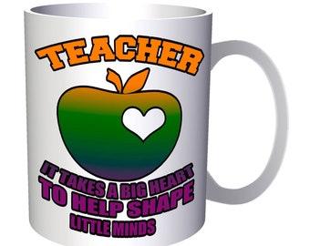 Teacher Takes Big Heart Little Minds 11oz Mug aa193
