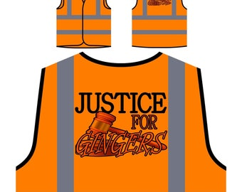 Justice For Gingers Personalized Hi Visibility Safety Jacket Vest Waistcoat r706v
