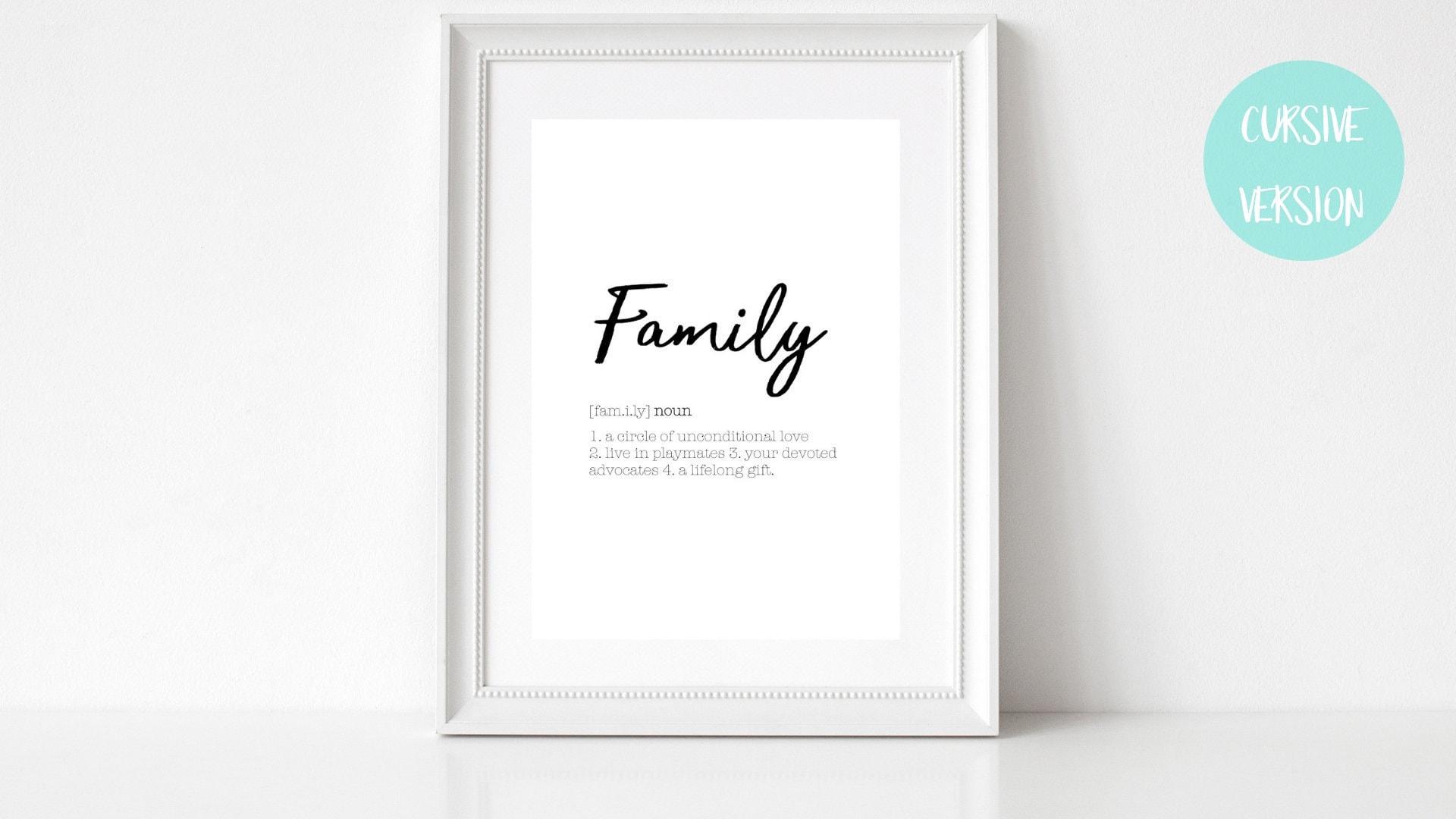 LOVE DEFINITION PRINT FAMILY GIFT BLACK WHITE A4 HOME GIFT PRINTS DECOR