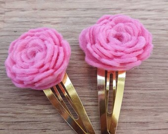 Candyfloss/bubblegum pink felt rose hair clips, Perfect for Playdate, flowergirl, birthdays, stocking filler, christmas gift, wedding,