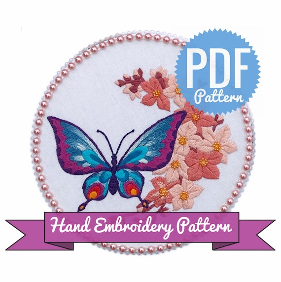 Digital Download PDF Hand Embroidery Pattern Butterfly and Sakura Contains Detailed Tutorials for Beginners