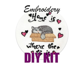 Home is Where the Cat is Needle Craft Kit DIY Embroidery Hoop Art Beginner Pattern Beginner Embroidery How to Embroider DIY KIT Stress Relie