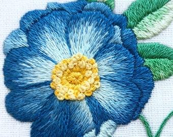 Blue Rose Hand Embroidery Hoop Art
