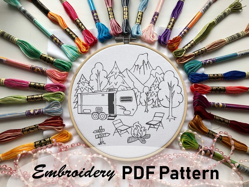 Camping Travel Trailer Hand Embroidery Pattern DIY Embroidery PDF Pattern  Stitching Pattern Embroidery Hoop Art Beginner Embroidery Pattern