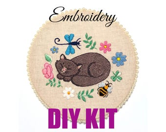 Soft Kitty Warm Kitty Needle Craft Kit DIY Embroidery Hoop Art Beginner Pattern Beginner Embroidery How to Embroider DIY KIT Stress Relief