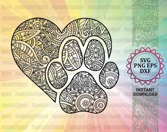 Heart Paw Print Svg Love Dog Svg Love Dog Paw Heart Paw Etsy