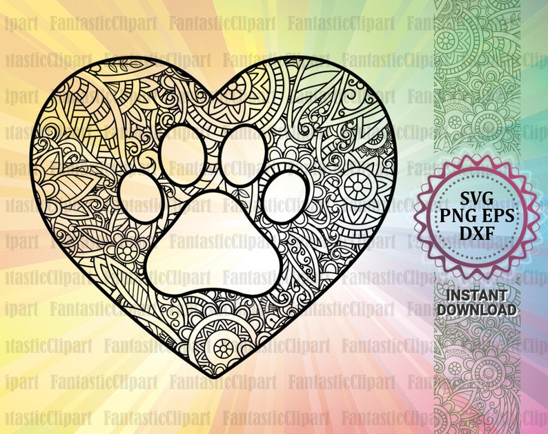 Paw Mandala Svg Paw Heart Svg Paw Heart Decal Paw Heart Etsy