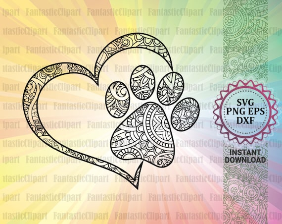 Heart Paw Svg Heart Paw Print Svg Paw Heart Decal Paw Etsy