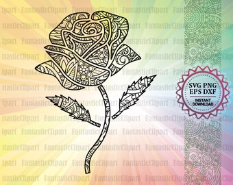 Rose Svg, Rose Mandala Svg, Rose Svg Beauty And The Beast, Rose Svg For Cricut, Rose Clipart, Rose Decal Svg, Mandala Svg Designs, Zentangle