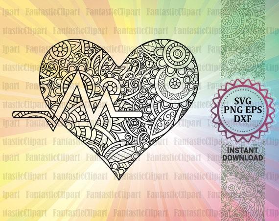 Heart Beat Svg Heart Beat Heart Svg Heart Beat Mandala Art Etsy