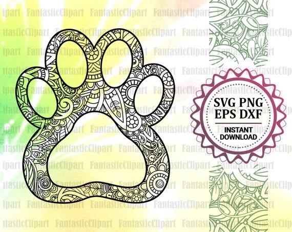 Dog Paw Svg Paw Clipart Paw Mandala Svg Paw Mandala Decal Etsy