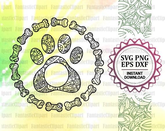 Paw Mandala Svg Dog Paw Svg Paw Clipart Paw Monogram Dog Etsy