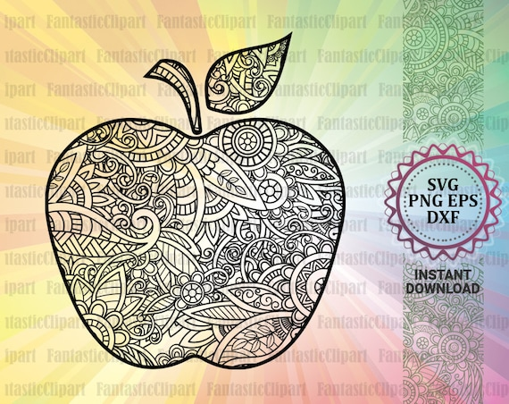 Apple Mandala Svg Apple Clipart Apple Cut File Apple Decal Etsy
