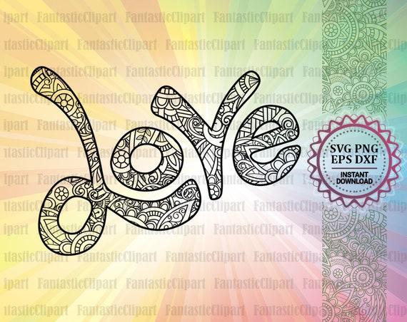 Love Svg Love Mandala Svg Love Clipart Love Word Svg File Etsy