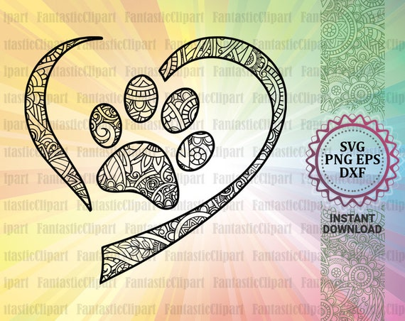 Heart Svg Heart Paw Svg Heart Clipart Heart Decal Dog Paw Etsy