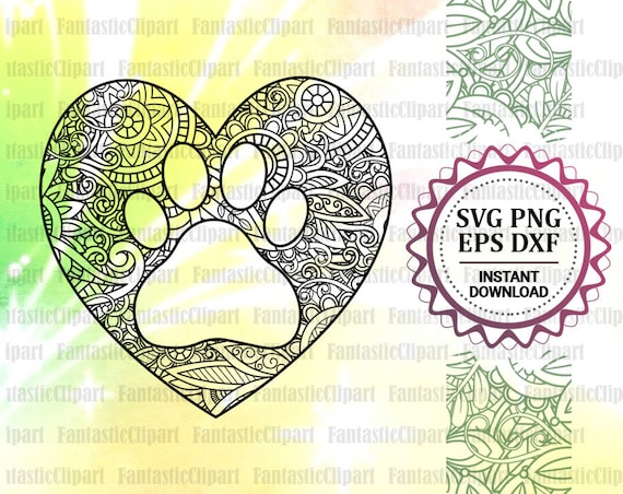 Paw Mandala Svg Heart Paw Svg Paw Clipart Heart Paw Decal Etsy