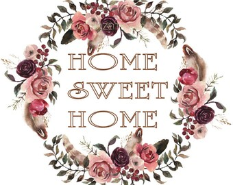 Floral Wreath Home Sweet Home