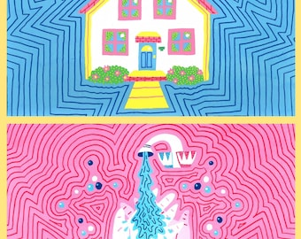 Pack of 2 A5 prints - 'Wash Your Hands' and 'Stay at Home'