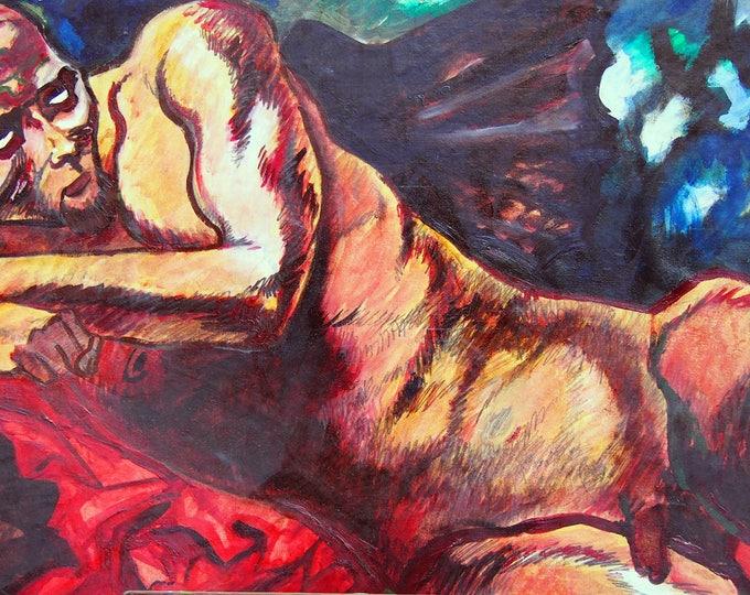 Wall Art.italian artist.Minimal.design.Modern Texture bright red, Blue, White.Figurative Painting.oil Painting on Canvas:Mauro Carac.Art