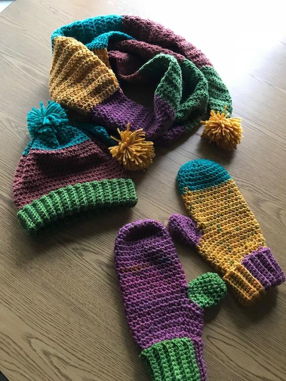 Gehäkelte Mütze Schal und Handschuhe Set häkeln Handschuhe   Etsy