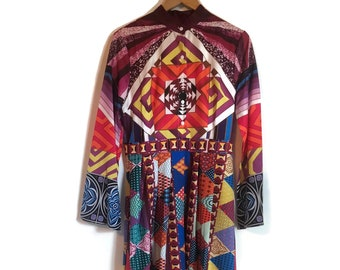 034ae8b8b9 Psychedelic Dress | Boho Hippie Dress | 1960s Style Colourful Bohemian Dress  | 60s Long Maxi Dress | Retro Womens Dress | Halloween Costume