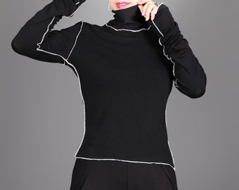 MB0906 Fitted Turtleneck  Long Sleeve Blouse  Stylish Party Top  Casual Top  Black Jeans Top  Marcellamoda
