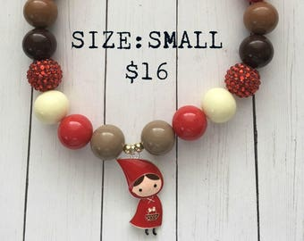 Red Riding Hood Bubblegum Necklace, bubblegum beads, little girl jewelry, storybook necklace