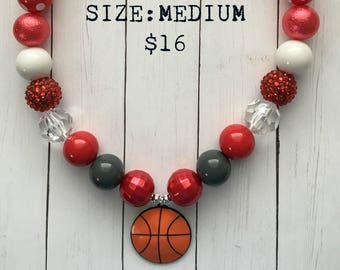 Ohio State Basketball Bubblegum Necklace, bubblegum beads, basketball, little girl jewelry, gift, buckeyes, scarlet & gray, red