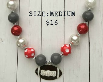 Ohio State Football Bubblegum Necklace, bubblegum beads, football, little girl jewelry, gift, buckeyes, scarlet and gray, red house pretties