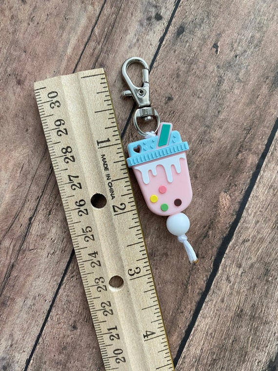 dog collar charm zipper pull cat collar charm keychain pet accessory pet collar charm Boba Tea Silicone Charms purse charm