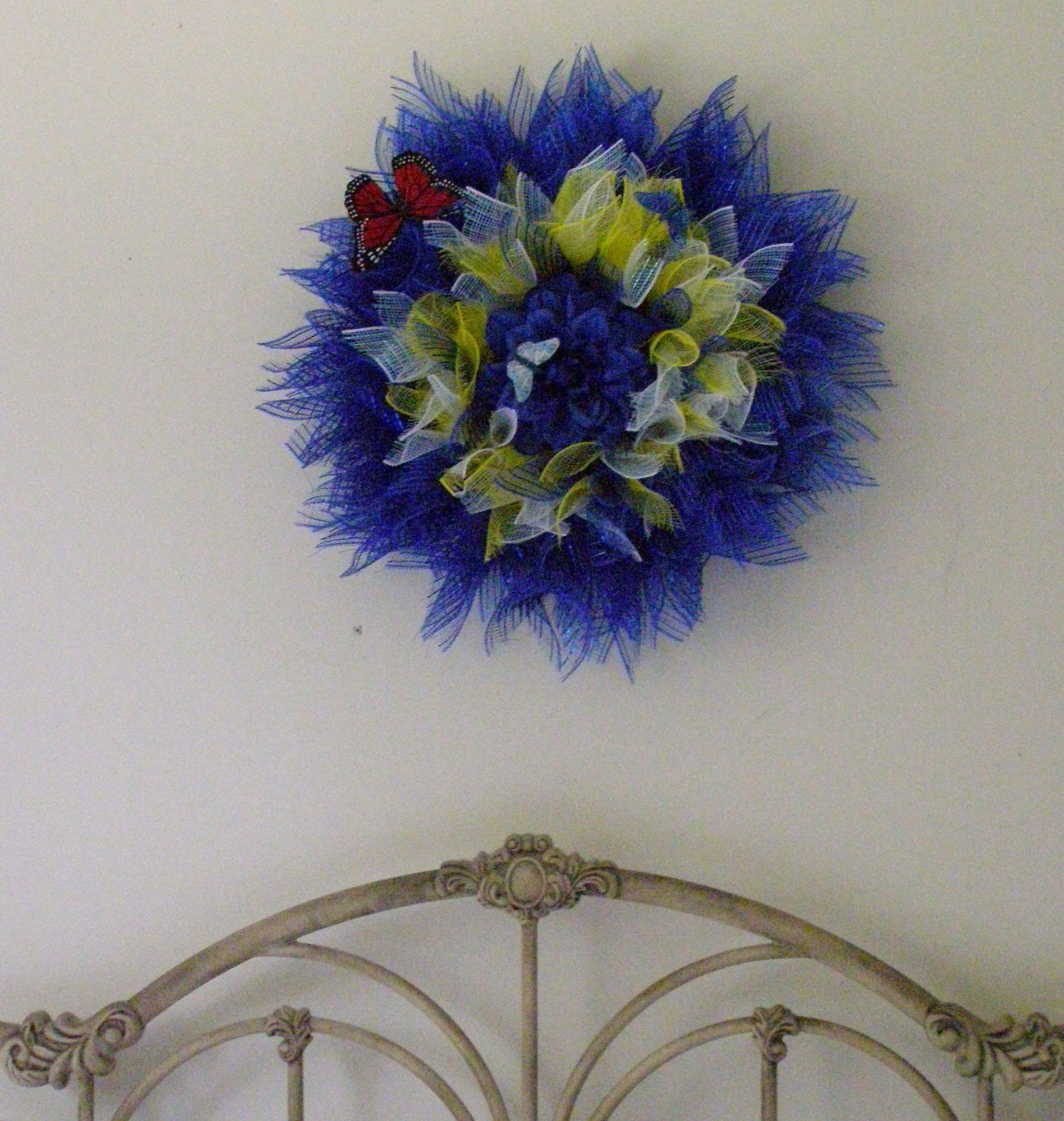 Blue Dahlia Flower Wreath Etsy