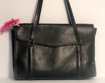 Vintage Coach Black Shoulder Messenger Brief Bag 032e8cf1b5