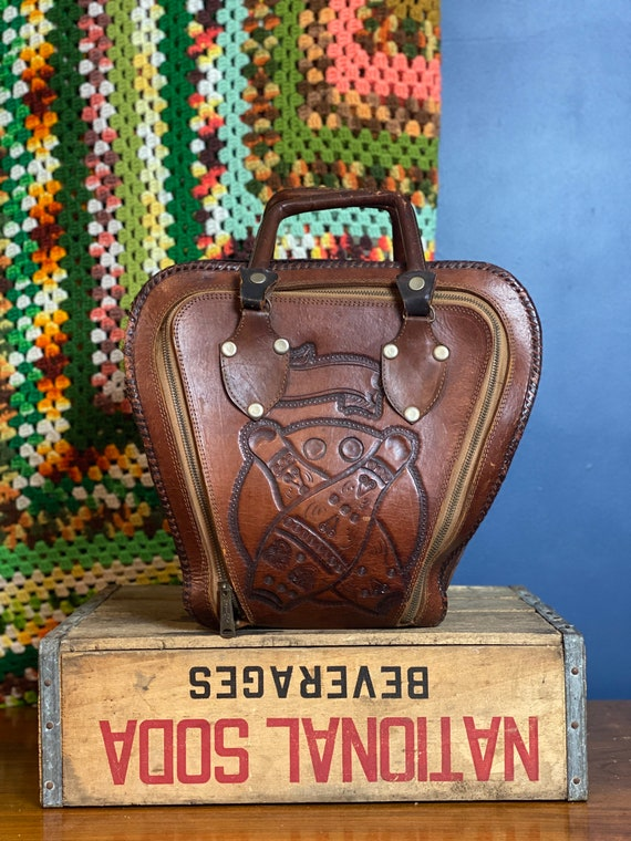 Vintage 1960s Tooled Leather Orante Bowling Bag