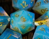 Opalite Gemstone DnD Dice Set Engrave Font A Gold Ink The Cat and The Moon Version