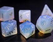 Opalite Gemstone DnD Dice Set Engrave Font A Silver Ink
