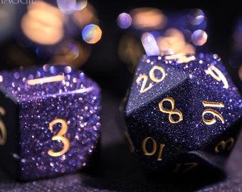 Blue Sandstone Gemstone DnD Set All Number Dice