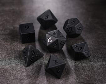 Raised Obsidian Gemstone DnD Dice Set All Number Dice