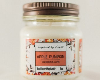 Variety of Soy Candles | Apple Pumpkin, Hot Apple Cider, Mermaid Tales, Lavender | Glass Jar Candle | Inspired by Light Candle - 8 oz.