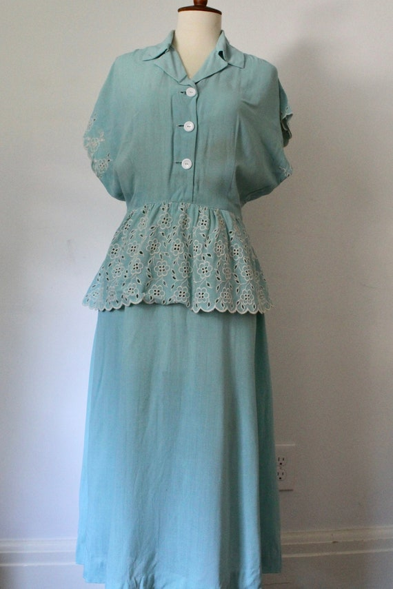 1940's Vintage Handmade Peplum Dress