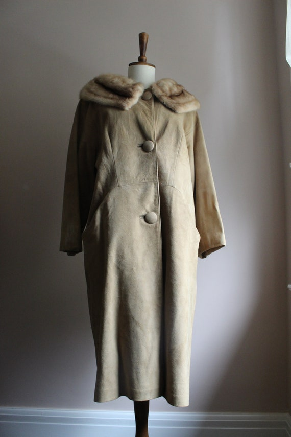 1950's Saks Fifth Avenue Suede and Fur Coat