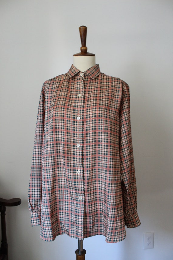 1970's Plaid Polyester Blouse Top