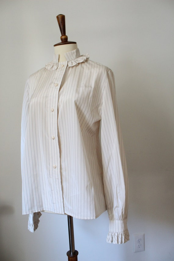 1970's Victorian Inspired Polyester Blouse - image 1